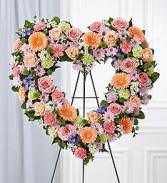 Pastel Colored Flower Heart Wreath