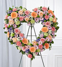 Pastel Colored Flower Heart Wreath