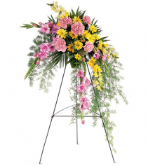 Pastel Crescent Spray by Teleflora Standing Easel Spray