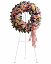 Pastel funeral wreath with roses  Funeral Wreath