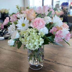 Pastel Garden Florals Vased Arrangement in Saskatoon, SK | QUINN & KIM'S FLOWERS