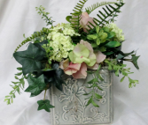 Pastel Hydrangea Cube - Silk Arrangement Permanent Arrangement by Inspirations Floral Studio