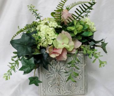Pastel Hydrangea Cube Permanent Arrangement by Inspirations Floral Studio
