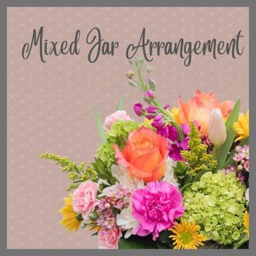 Jar-Pastel Flowers