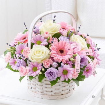 Pastel Lover Basket of Flowers/READ DESCRIPTION