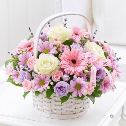 Pastel Lover Basket of Flowers/READ DESCRIPTION