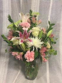 Pastel Memories Funeral Vase Arrangement