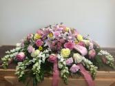 Pastel palette Casket flowers
