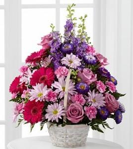 Pastel Peace Basket Sympathy Flowers