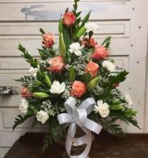 Pastel Peach Funeral Flowers