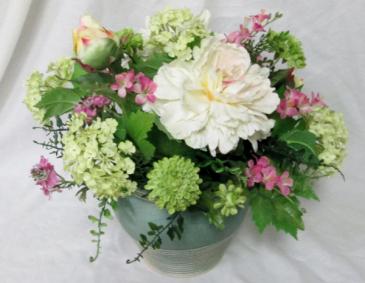 Pastel Peony Centerpiece Permanent Arrangement by Inspirations Floral Studio
