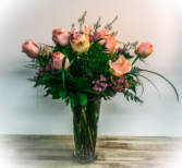 Pastel Pink Roses, Tall and Traditional