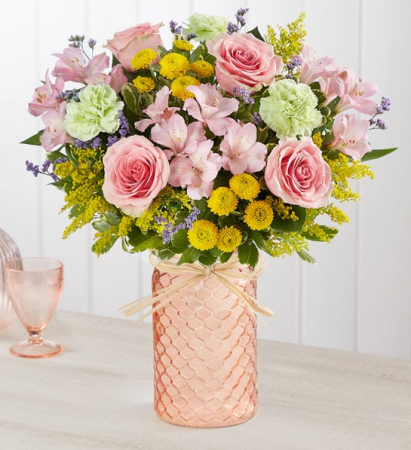 PASTEL POSY COLORFUL FLOWERS IN HONEYCOMB PEACH JAR