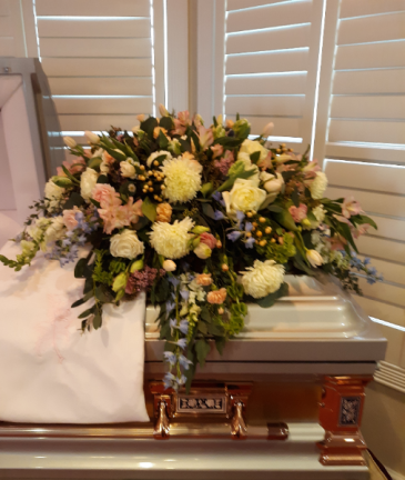 Pastel promise casket blanket in ivory and soft pastel colors