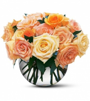 Pastel Rose Bubble Bowl Floral Arrangement
