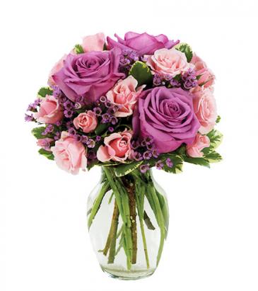 Pastel Rose Garden Vase Arrangement