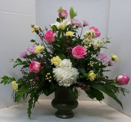 Pastel Summer Urn Funeral Arrangements