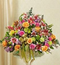 Pastel Sympathy Basket Funeral Flowers, Sympathy Arrangement