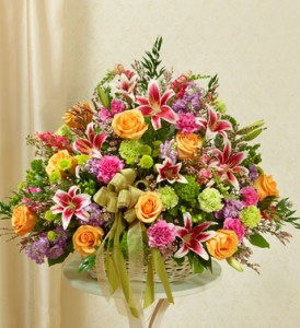 Pastel Sympathy Basket sympathy flowers