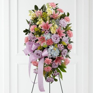 Pastel Tribute Standing Funeral Spray