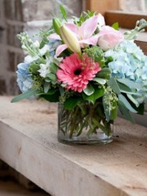 Pastel Garden of Hydrangea, Gerbera Daisies, Stock, and Lilies in Glass