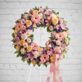 PASTEL WREATH FUNERAL WREATH WAS $225.00/NOW 185.