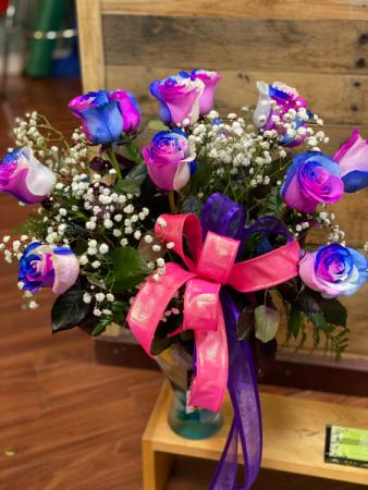 pastels rainbow dozen roses