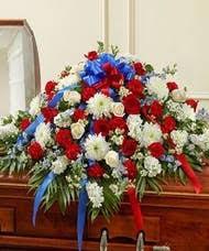 Patriot Casket Spray Floral Arrangement in Lexington, NC   RAE'S NORTH POINT FLORIST INC.