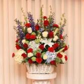 Patriot White Basket Floral Arrangement
