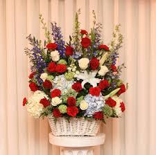 Patriot White Basket Floral Arrangement in Lexington, NC   RAE'S NORTH POINT FLORIST INC.