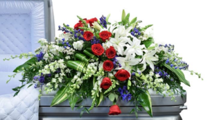 Patriotic casket cove.    in Ozone Park, NY | Heavenly Florist