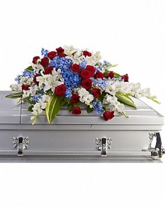 Patriotic Casket Cover Sympathy in Dover, NH | SWEET MEADOWS FLOWER SHOP