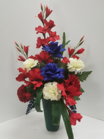 Patriotic cemetery vase Silk Floral Arrangement