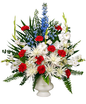 PATRIOTIC MEMORIAL  Funeral Flowers in Solana Beach, CA | DEL MAR FLOWER CO