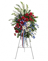 PATRIOTIC MEMORIAL SPRAY STANDING FUNERAL PC ON A 5'-6