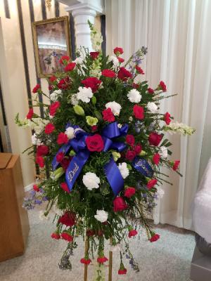 Patriotic Memory  standing easle spray  in Cassville, MO | CAREY'S CASSVILLE FLORIST