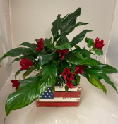 Patriotic Pride Mixed greens with fresh flowers