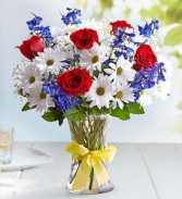 Patriotic Red White & Blue with Yellow Bow Tribute to Honor Our Military