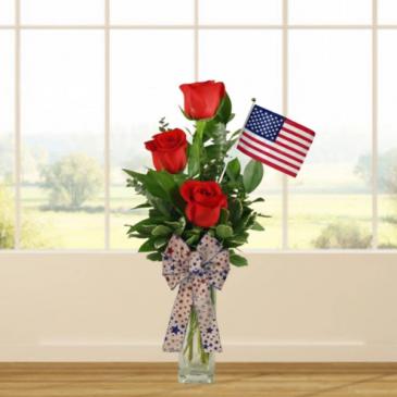 Patriotic Rose Bud Vase