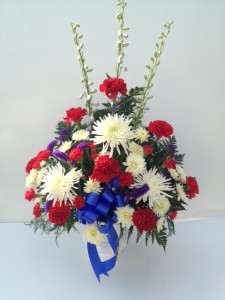 Patriotic Sentiment Mache Arrangement Funeral Flowers in Fitchburg, MA | CAULEY'S FLORIST & GARDEN CENTER