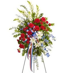 Patriotic Sentiments Standing Spray in Lebanon, NH | LEBANON GARDEN OF EDEN FLORAL SHOP