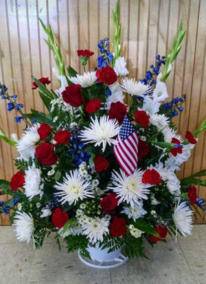 patriotic sympathy basket in Lebanon, NH | LEBANON GARDEN OF EDEN FLORAL SHOP