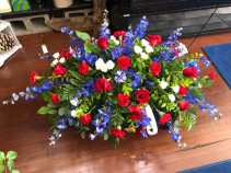 Patriotic Traditional Casket  Red, White and Blue