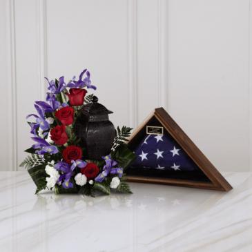Patriotic Tribute Arragement Urn Tribute