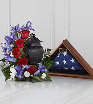 Patriotic Tribute  Cremation Flowers  (Urn and Flag not included) in Richland, WA | ARLENE'S FLOWERS AND GIFTS