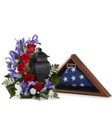 Patriotic Tribute Cremation/Urn arrangement (URN NOT INCLUDED)