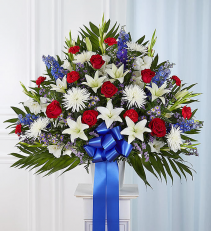 Patriotic Tribute Floor Basket Arrangement 91211