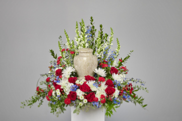 Patriotic Urn Wreath Cremation urn arrangement