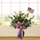 Patriotic White Roses