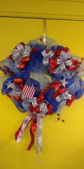 Patriotic Wreath Hanging Wreath